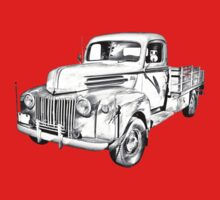 Old Flat Bed Ford Work Truck Illustration Kids Clothes