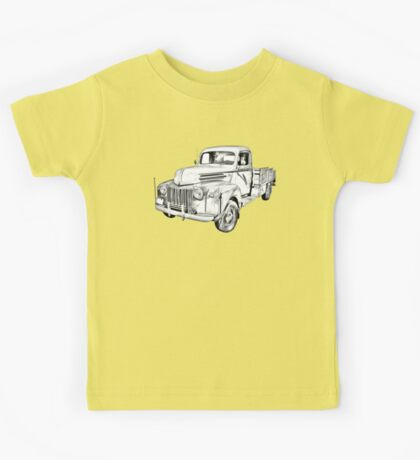 Old Flat Bed Ford Work Truck Illustration Kids Tee