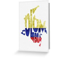 Colombia Typographic Map Flag Greeting Card