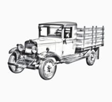 1929 chevy truck 1 ton stake Body Illustration Kids Tee