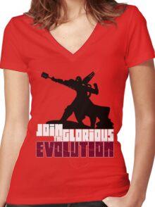 [V2] - Join the glorious evolution! Women's Fitted V-Neck T-Shirt