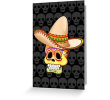 Mexico Sugar Skull with Sombrero Greeting Card