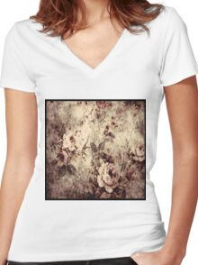 vint 3 florals  Women's Fitted V-Neck T-Shirt