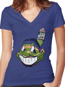 Chief Wahoo Field Women's Fitted V-Neck T-Shirt