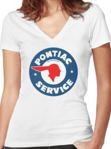 Pontiac Authorized Service vintage sign reproduction Women's Fitted V-Neck T-Shirt