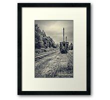 Abandoned burnt out train cars Framed Print