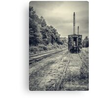 Abandoned burnt out train cars Canvas Print