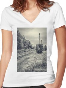 Abandoned burnt out train cars Women's Fitted V-Neck T-Shirt
