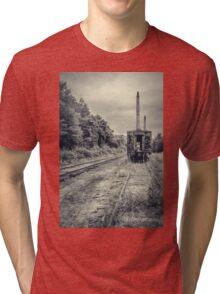 Abandoned burnt out train cars Tri-blend T-Shirt