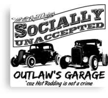 Outlaw's Garage. Socially unaccepted Hot Rods light bkg Canvas Print