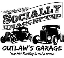 Outlaw's Garage. Socially unaccepted Hot Rods light bkg Photographic Print