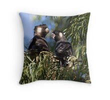 He and She Carnaby's Cockatoos Throw Pillow