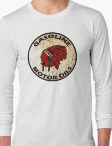 Red Indian Gasoline vintage sign reproduction rusted vers. Long Sleeve T-Shirt