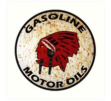 Red Indian Gasoline vintage sign reproduction rusted vers. Art Print