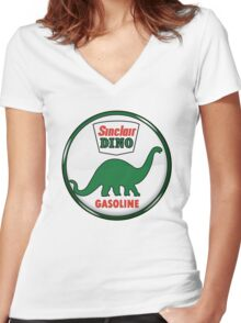 Sinclair Dino Gasoline vintage sign crystal vers. Women's Fitted V-Neck T-Shirt