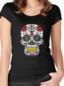 HALLOWEEN Large Fashion Floral Skull T-shirt,Luxury Tee Women's Fitted Scoop T-Shirt