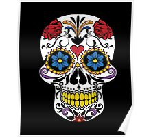 HALLOWEEN Large Fashion Floral Skull T-shirt,Luxury Tee Poster
