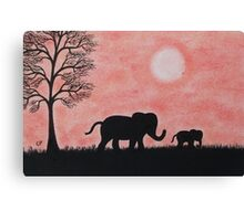 Elephants Silhouette: Baby Elephant with Mother Canvas Print