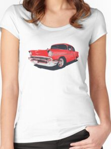 Chevy Bel Air 57 vector illustration Women's Fitted Scoop T-Shirt