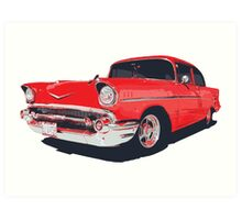 Chevy Bel Air 57 vector illustration Art Print