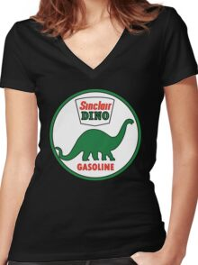Sinclair Dino Gasoline vintage sign flat version Women's Fitted V-Neck T-Shirt