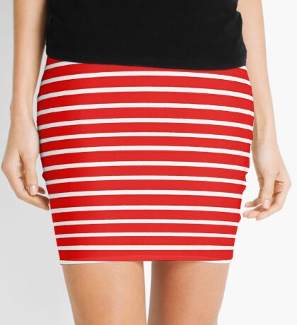 Thick Red Striped Dress Mini Skirt