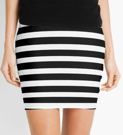 Black Horizontal Striped Dress Mini Skirt