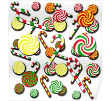 Christmas candy pattern Poster