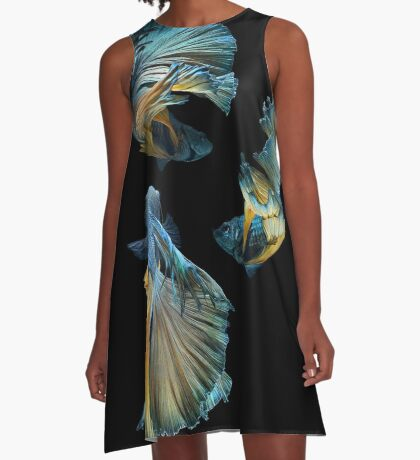 Blue Siamese Betta Fish A-Line Dress