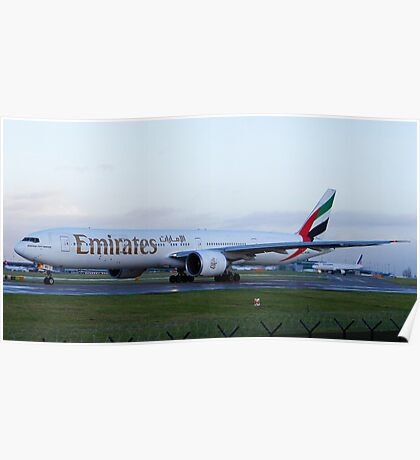 Emirates 777-300 at Manchester Airport Poster