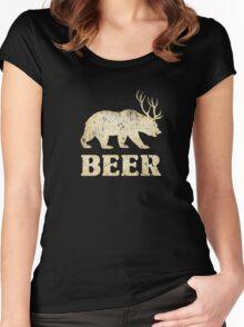 Vintage Bear Deer Beer T-shirt Women's Fitted Scoop T-Shirt