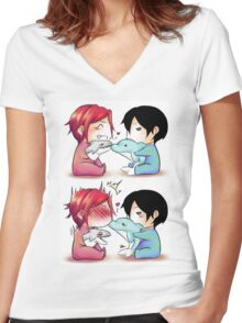 Dolphin kiss - RinHaru Women's Fitted V-Neck T-Shirt