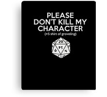 Funny Dungeons And Dragons T-Shirt D20 Shirt Roleplay Tee Canvas Print
