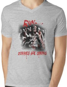 Run zombies are coming Mens V-Neck T-Shirt