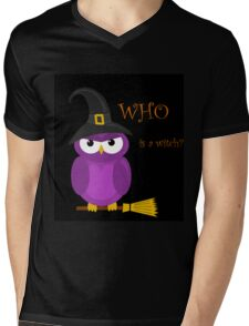 Who is the witch? - purple owl Mens V-Neck T-Shirt