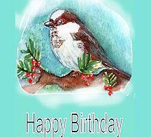 SPARROW WINTER CARD HAPPY BIRTHDAY by Shoshonan