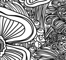 Floral Outline in B&W Sticker