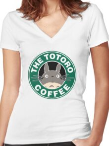 The Anime Coffee Women's Fitted V-Neck T-Shirt