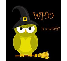 Who is a witch? - yellow owl Photographic Print