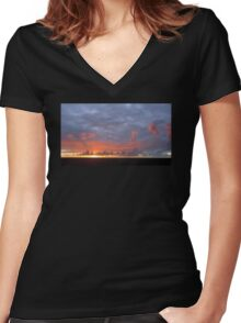 Amazing Sunset Clouds Women's Fitted V-Neck T-Shirt