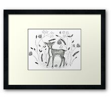 Sweet Deer in Beautiful Garden Framed Print