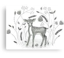 Sweet Deer in Beautiful Garden Canvas Print