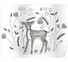 Sweet Deer in Beautiful Garden Poster