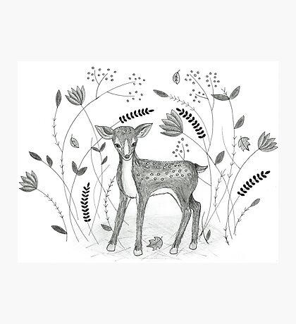 Sweet Deer in Beautiful Garden Photographic Print
