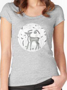 Sweet Deer in Beautiful Garden Women's Fitted Scoop T-Shirt