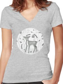 Sweet Deer in Beautiful Garden Women's Fitted V-Neck T-Shirt