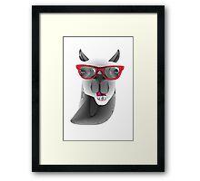 Hipster Llama Design Framed Print