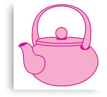 a cute pink tea kettle Canvas Print