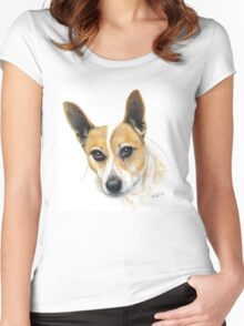 Colour Pencil Portrait of our dog Skippy Women's Fitted Scoop T-Shirt