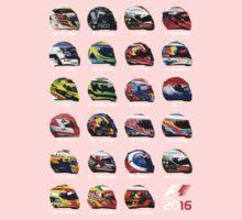 Formula 1 2016 drivers helmets all One Piece - Short Sleeve